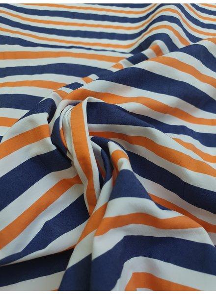 orange stripes - wrinkle cotton