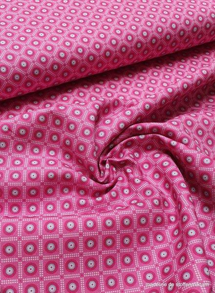 roze met blauwe cirkel en gestipt ruitje - katoen