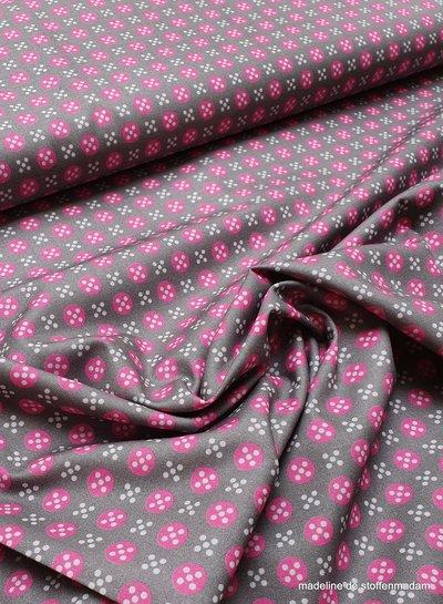 taupe met roze bolletjes en witte stipjes - katoen
