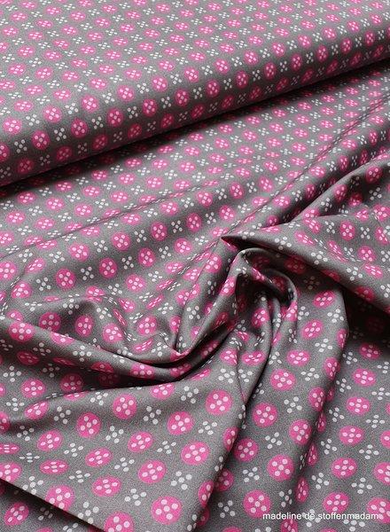 taupe met roze bolletjes en witte stipjes - cotton