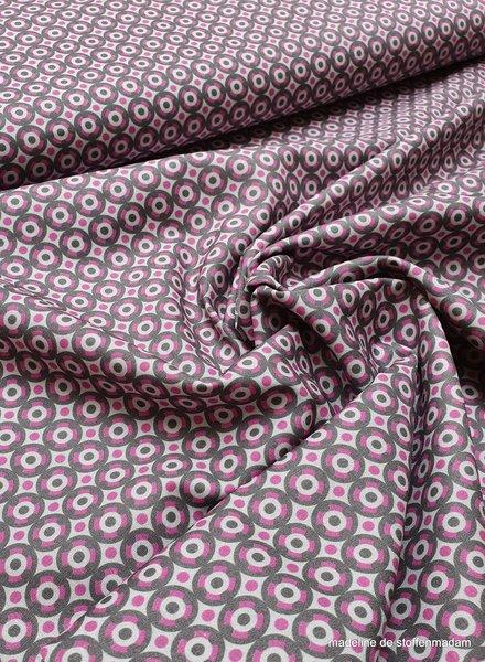 cirkeltjes roze en grijs - katoen