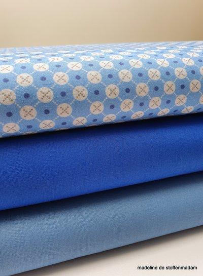 blauw met cirkel en gestipt ruitje - cotton