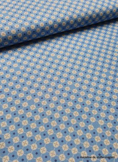 blauw met cirkel en gestipt ruitje - katoen