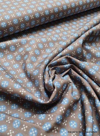 grijs met blauwe bolletjes en witte stipjes - cotton