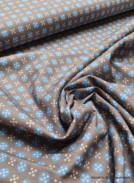 grijs met blauwe bolletjes en witte stipjes - katoen