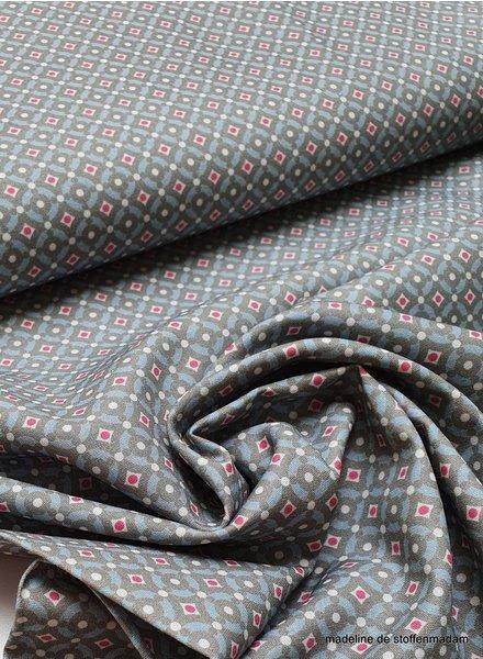 grijsblauwe mozaïek met roze stip - katoen