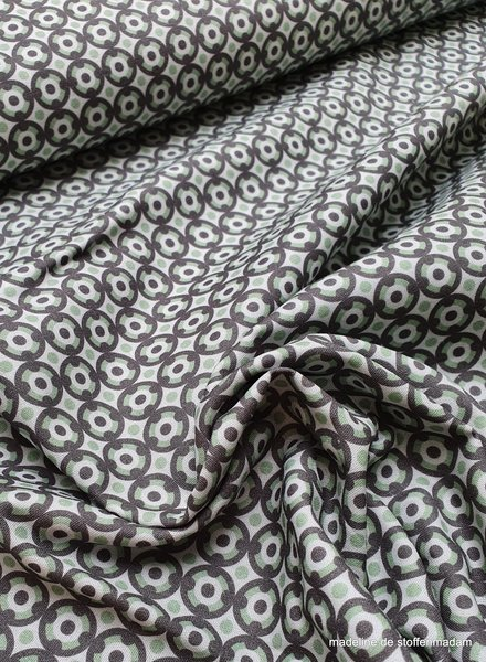 grijs met groene cirkeltjes - cotton