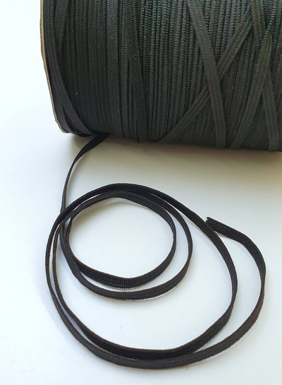 very soft and stretchy elastic BLACK - 10 meter - 4 mm width