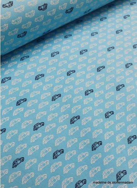 little blue car - cotton
