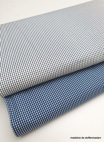 marineblauw fijn motief - zachte en soepele katoen - easy iron