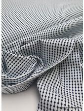 wit en marineblauw fijn motief - zachte en soepele katoen - easy iron