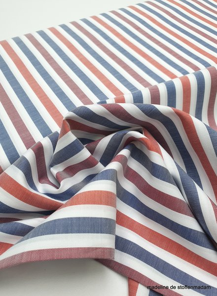 red and blue stripes - cotton