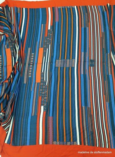 rood/blauw strepen -  viscose