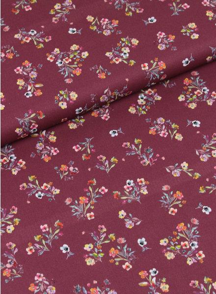 burgundy flowers digital - cotton