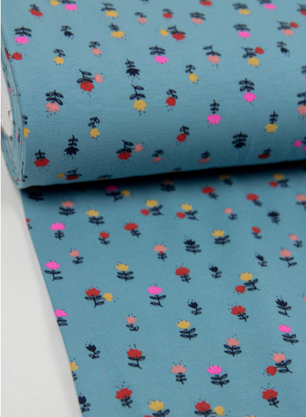 blauw neon flowers - tricot