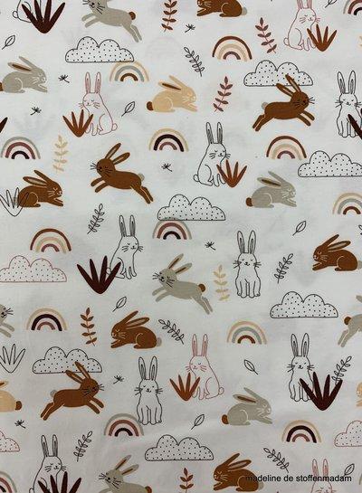 konijntjes en regenbogen tricot - ecru