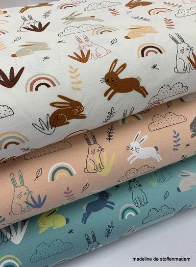 konijntjes en regenbogen tricot - blauw