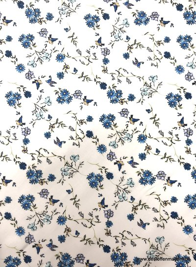 birds and flowers blue - cotton lawn