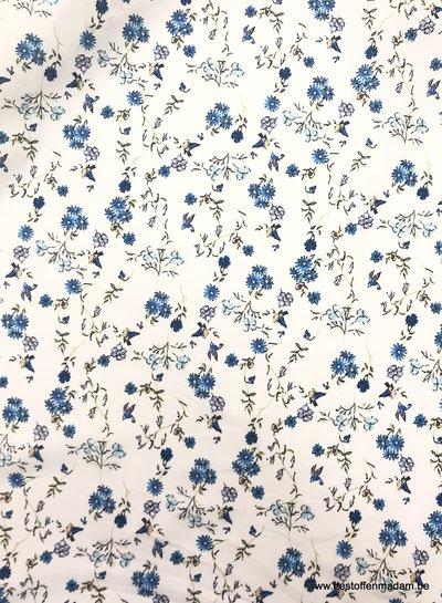 vogels en bloemen blauw - cotton lawn