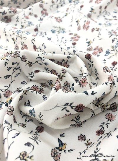 vogels en bloemen roze - cotton lawn