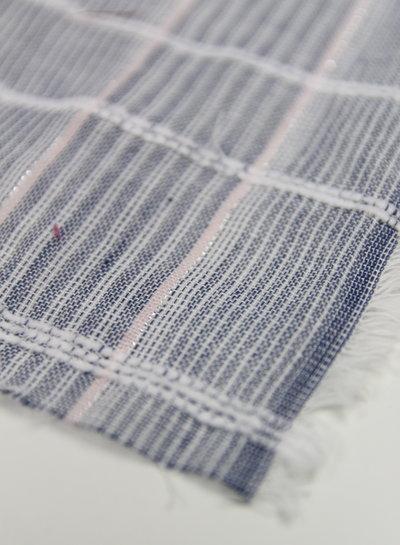 roze lichtblauw gestreepte Japanse double gauze
