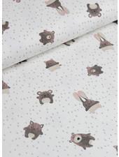 mini forest - knuffelende beren - cream roze - french terry