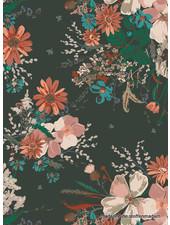 ART GALLERY FABRICS spirited PETROL bloemen - katoen