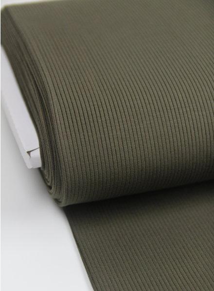 khaki ribbel - viscose tricot