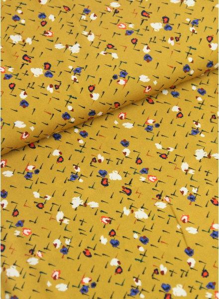 Fibremood oker abstracte bloemen - viscose