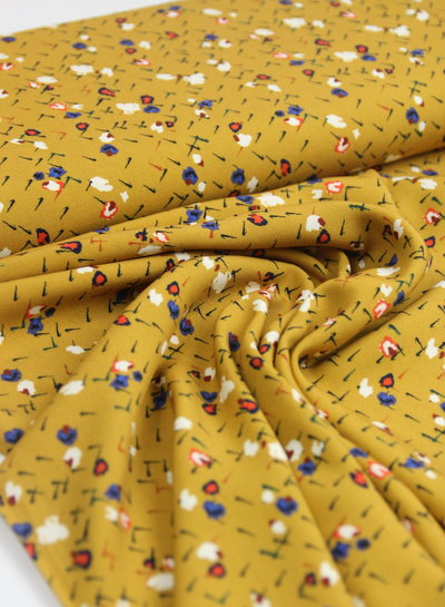 Fibremood ocre abstract flowers - viscose