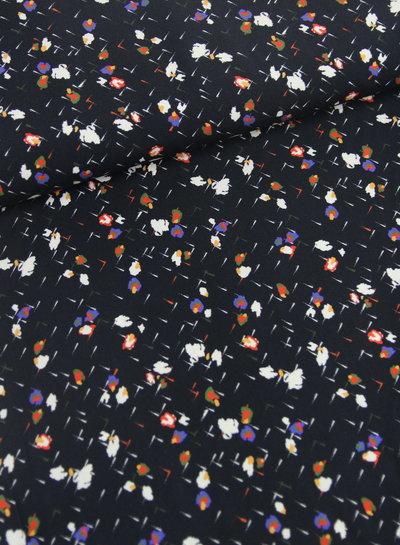 Fibremood navy abstracte bloemen - viscose