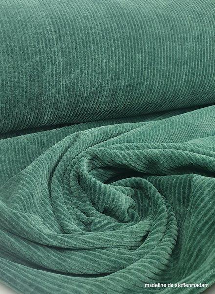 jade groen- dunne ribbel rekbare corduroy