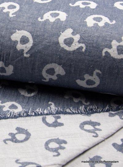 elephant jeansblue jacquard double sided