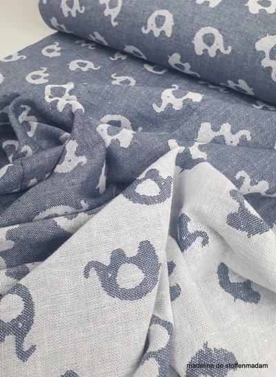 olifant jeansblauw jacquard double face