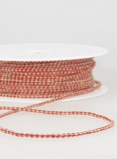 gespikkeld linnen touwtje 3 mm - rood kleur 8
