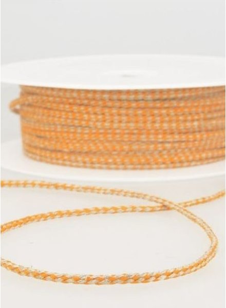 gespikkeld linnen touwtje 3 mm - oranje kleur 83