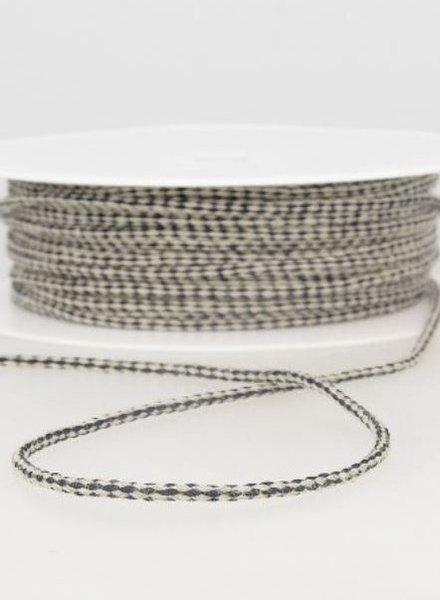 gespikkeld linnen touwtje 3 mm - marine kleur 27