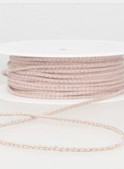 gespikkeld linnen touwtje 3 mm - roze 73