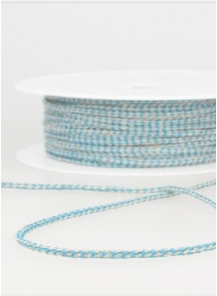 gespikkeld linnen touwtje 3 mm - turquoise 20