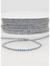 gespikkeld linnen touwtje 3 mm - kobalt kleur 24