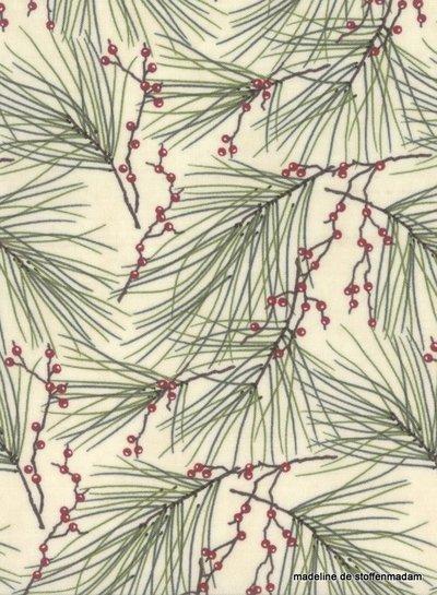 Moda winter white pine and berries - cotton