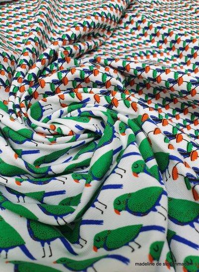 papegaaien - tricot 2 tekeningen op stofbreedte