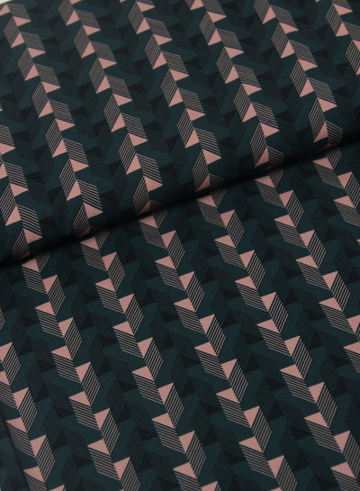 La Maison Victor groen geometrische print - soepelvallende stof