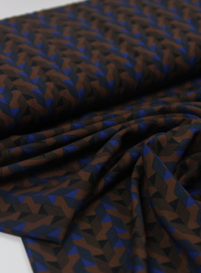 La Maison Victor brown geometric print - polyester fabric
