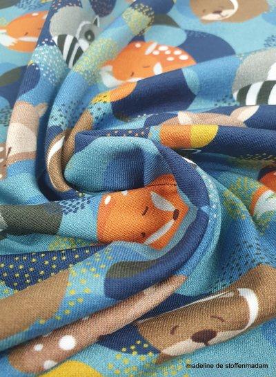 Swafing slapende vosjes - blauw - tricot