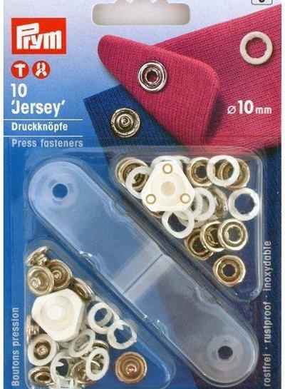 Prym jersey drukknopen, open ring, 10mm, wit
