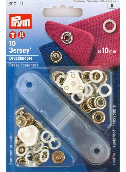 Prym jersey drukknopen, open ring, 10mm, wit