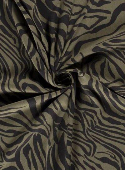 khaki zebra  - viscose twill