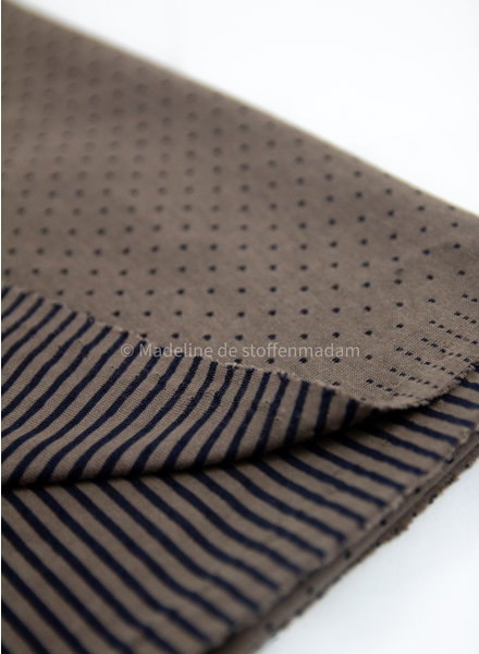 taupe dots and stripes double face - jersey