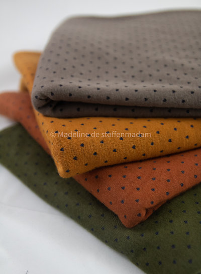 khaki dots and stripes double face - jersey